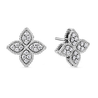 Roberto Coin 18K White Gold Princess Flower Diamond Earrings
