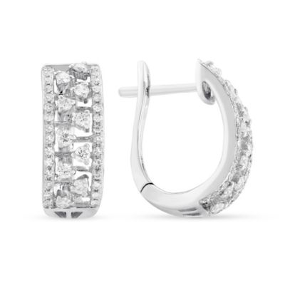 14K White Gold Diamond Wide Hoop Earrings