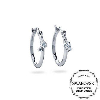 DIAMA 18K White Gold Intimate Swarovski Created Diamond Hoop Earrings