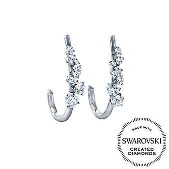 DIAMA 18K White Gold Signature Swarovski Created Diamond Hoop Earrings