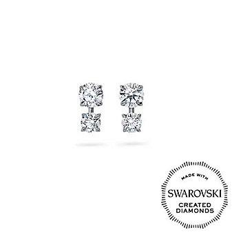 DIAMA 18K White Gold Intimate Swarovski Created Diamond Stud Earrings
