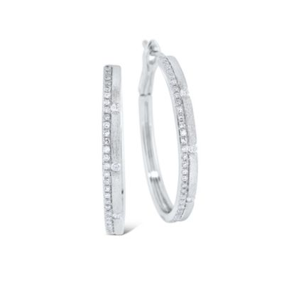 14K White Gold Diamond Medium Brushed Hoop Earrings