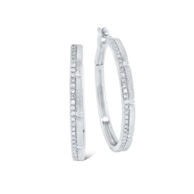 14K White Gold Diamond Medium Brushed Hoop Earrings