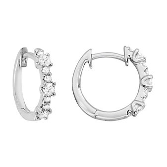 14K White Gold Diamond Hinged Hoop Earrings