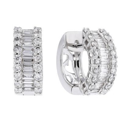 18k white gold baguette & round diamond 3 row huggy hoop earrings