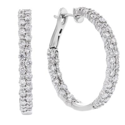 14k white gold diamond double row hoop earrings