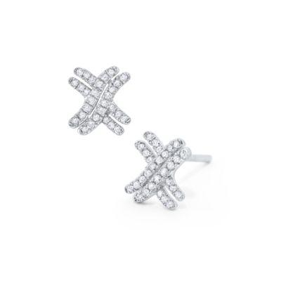 14k white gold diamond double x post earrings