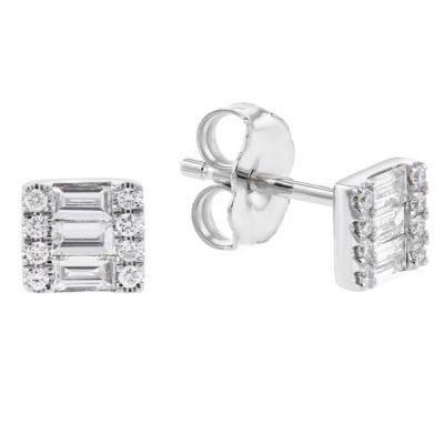 14k white gold diamond mosaic square post earrings