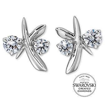 diama 18k white gold swarovski created diamond encounter stud earrings