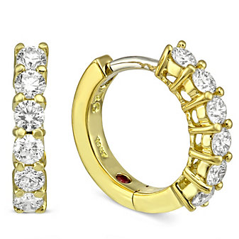Roberto Coin 18K Yellow Gold Diamond Hoop Earrings, 1/2""