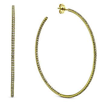 "Roberto Coin 18K Yellow Gold Diamond Hoop Earrings, 2 1/8"""