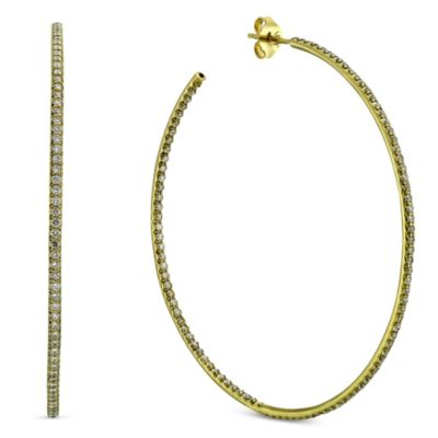 Roberto Coin 18K Yellow Gold Diamond Hoop Earrings, 2 1/8""