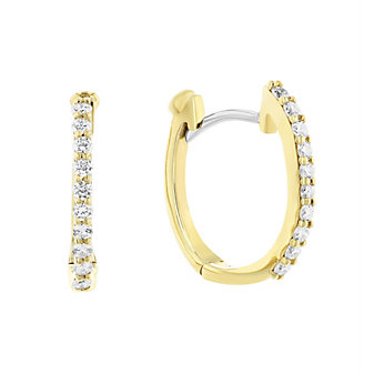 Roberto Coin 18K Yellow Gold Diamond Hoop Earrings, 0.20cttw