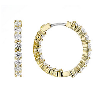 roberto coin 18k yellow gold diamond small inside out hoop earrings
