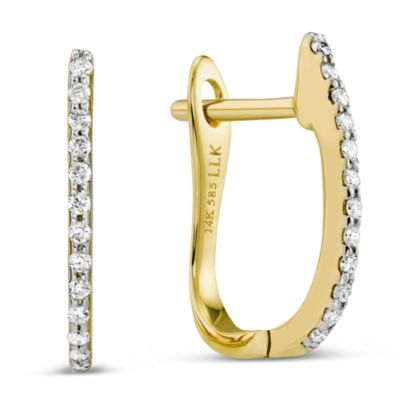 14K Yellow Gold Round Diamond Pave Hoop Earrings
