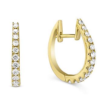14K Yellow Gold Diamond Hoop Earrings, 0.68cttw