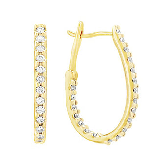 14K Yellow & White Gold Diamond Hoop Earrings