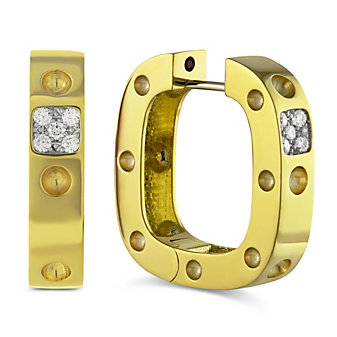 Roberto Coin 18K Yellow Gold Pois Mois Square Hoop Earrings