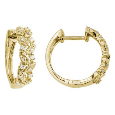 14K Yellow Gold Leaf Motif Diamond Hoop Earrings, 0.13cttw