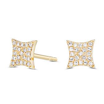 14K Yellow Gold Kite Shape Earrings