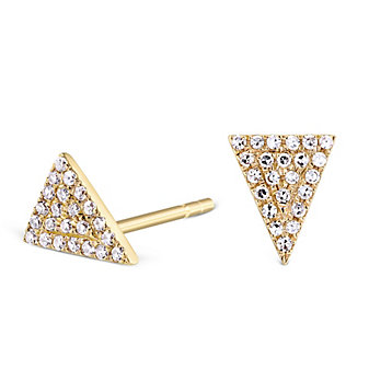 14K Yellow Gold Diamond Triangle Earrings