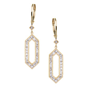 Sethi Couture 18K Yellow Gold Open Hexagon Diamond Drop Earrings, 1.20cttw