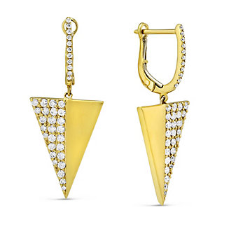 18K Yellow Gold Diamond Triangle Drop Earrings
