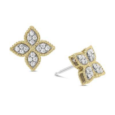 Roberto Coin 18K Yellow & White Gold Diamond Princess Flower Earrings, Medium