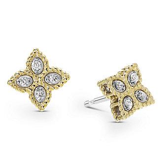 Roberto Coin 18K Yellow & White Gold Princess Flower Diamond Earrings, Small