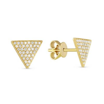 14K Yellow Gold Diamond Pave Triangle Stud Earrings