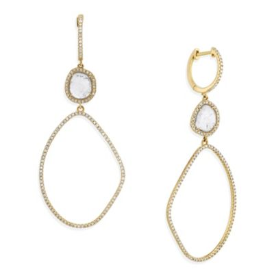 14K Yellow Gold Diamond Slice Freeform Oval Dangle Earrings