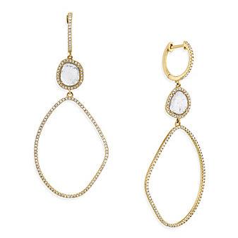 14K Yellow Gold Diamond Slice Freeform Oval Dangle Earrings