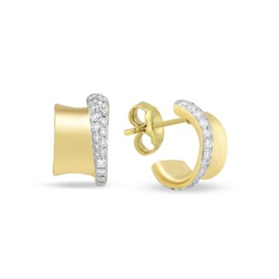 18K Yellow Gold Diamond Tapered Edge Huggie Hoop Post Earrings