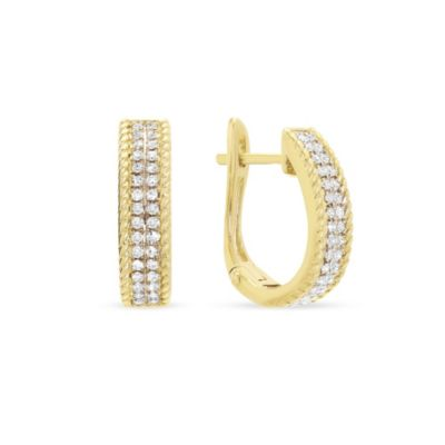 14k yellow gold 2 row diamond braided edge hoop earrings
