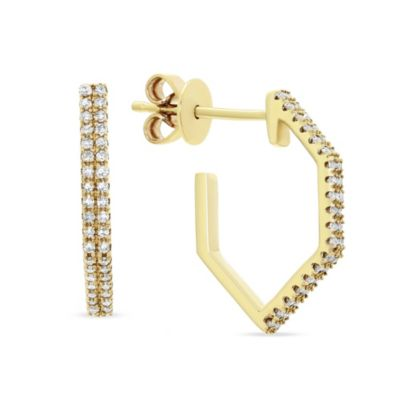 14k yellow gold round diamond geometric hoop earrings
