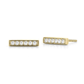 14k yellow gold diamond bar earrings