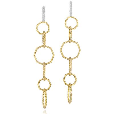 phillips house 14k yellow gold diamond octagon loop dangle earrings