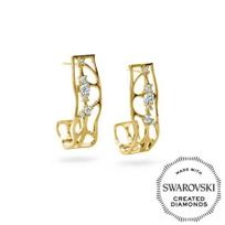 Diama_18K_Yellow_Gold_Lace_Swarovski_Created_Diamond_Earrings