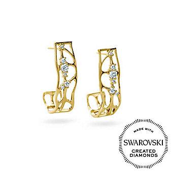 Diama 18K Yellow Gold Lace Swarovski Created Diamond Earrings
