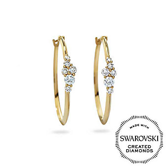 Diama 18K Yellow Gold Glacial Swarovski Created Diamond Hoop Earrings