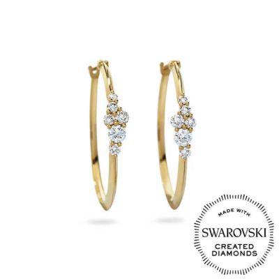 Diama 18K Yellow Gold Glacial Swarovski Created Diamond Hoop Earrings