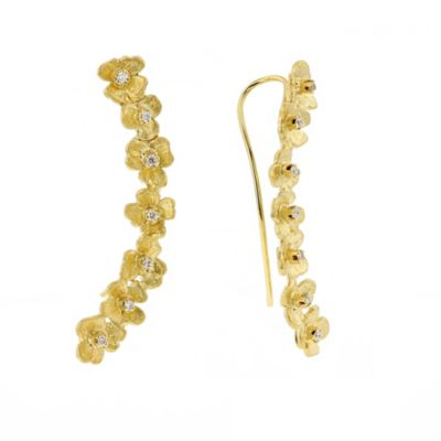 14k yellow gold diamond flower climber earrings
