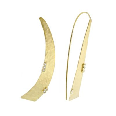 14k yellow gold diamond hammered crescent earrings