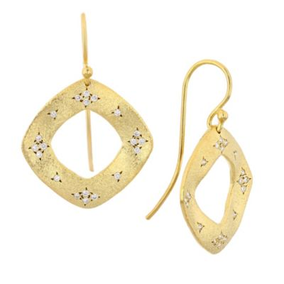 14k yellow gold diamond open cushion shaped drop earrings