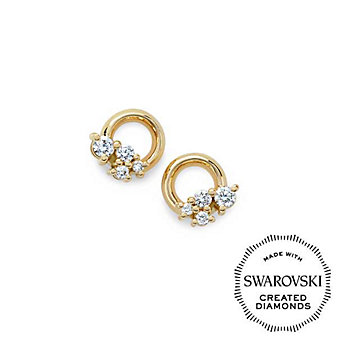 Diama 18K Yellow Gold Glacial Swarovski Created Diamond Circle Stud Earrings