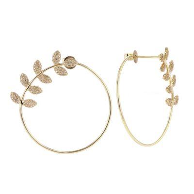 14k yellow gold diamond leaf open circle post earrings