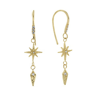 robin haley 14k yellow gold diamond gratitude star dangle earrings