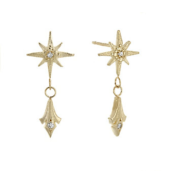 robin haley 14k yellow gold diamond gratitude star drop post earrings