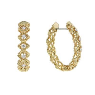roberto coin 18k yellow gold diamond roman barocco hoop earrings