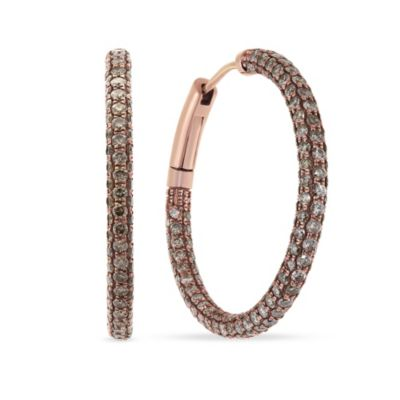 14k rose gold brown diamond hoop earrings
